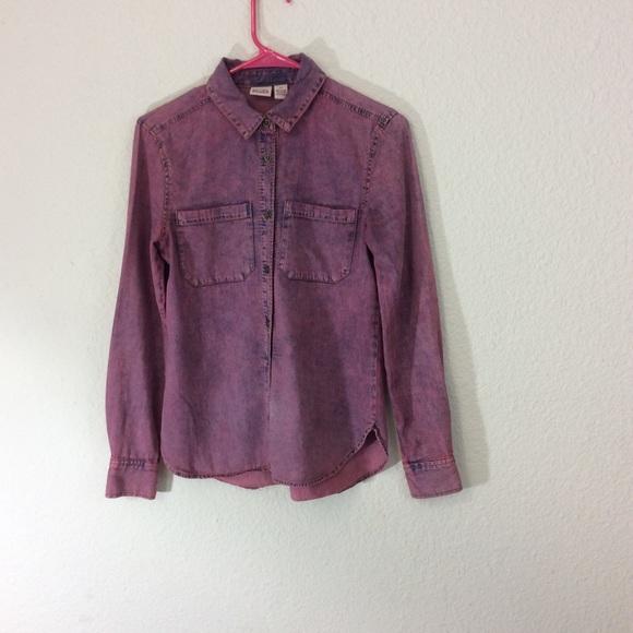 Mudd Tops - 🌷Distressed denim shirt